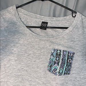 Grey Designed Pocket T-shirt